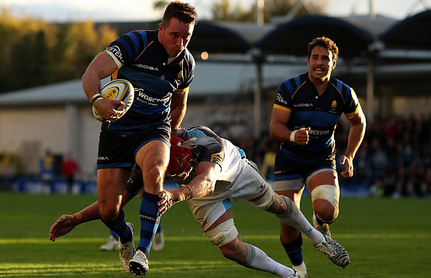 Alex Grove scored a brace of tries for Worcester Warriors