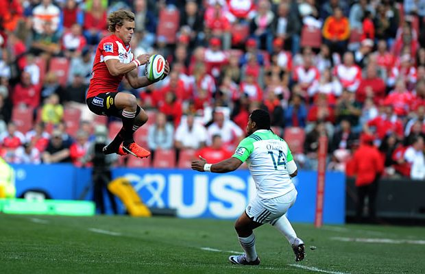 Andries Coetzee takes a high ball for the Lions