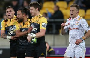 Beauden Barrett and the Hurricanes celebrate a try