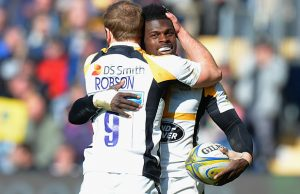 Christian Wade celebrates one of six tries