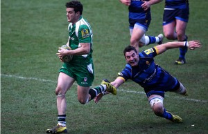 Tryscorer Ciaran Hearn slips through a tackle for London Irish