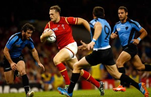 Hat-trick hero Cory Allen makes a break for Wales