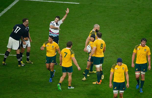 Referee Craig Joubert awards Australia a late match winning penalty