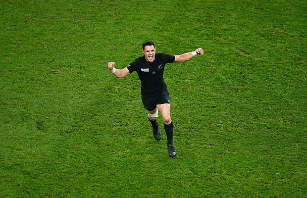 Dan Carter celebrates winning the Rugby World Cup