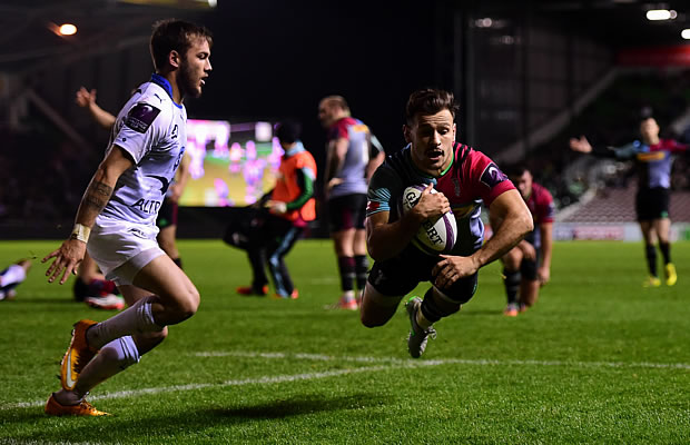 Harlequins captain Danny Care scores a try