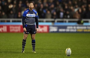 Danny Cipriani lines up the posts for a penalty kick