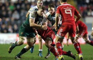 Ed Slater on the charge for Leicester Tigers