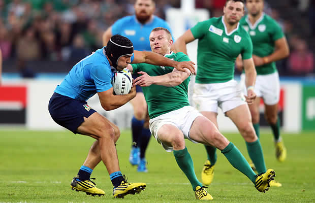 Edoardi Gori is tackled by Keith Earls