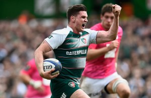 Freddie Burns celebrates for Leicester Tigers