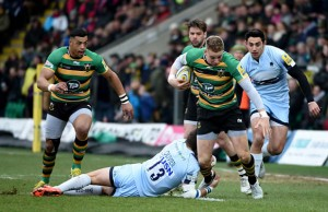 Harry Mallinder on the attack for Northampton Saints