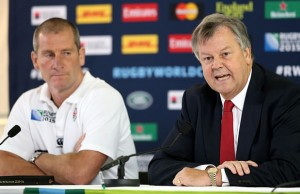 Stuart Lancaster,(L) the England head coach, faces the media with RFU chief executive Ian Ritchie