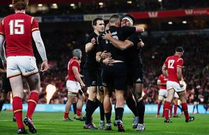 Israel Dagg and his team-mates celebrate a try for the All Blacks
