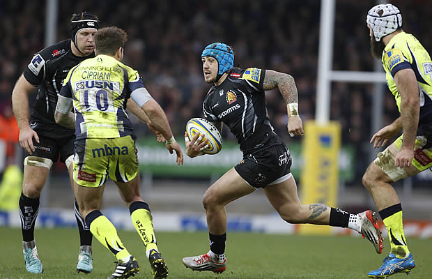 Jack Nowell tries to cut through Sale Sharks defence