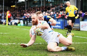 James Short scores the opening try for Exeter