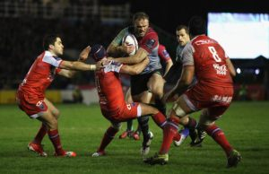 Jamie Roberts on the attack for Harlequins