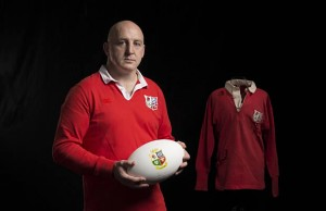 Keith Wood models a limited edition Lions shirt from Canterbury