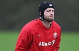 Kieran Low looks on during the Saracens training session