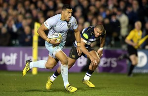 Luther Burrell makes a break for Saints which leads to a try