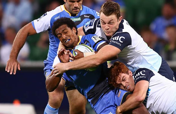Marcel Brache gets shut down by the Waratahs