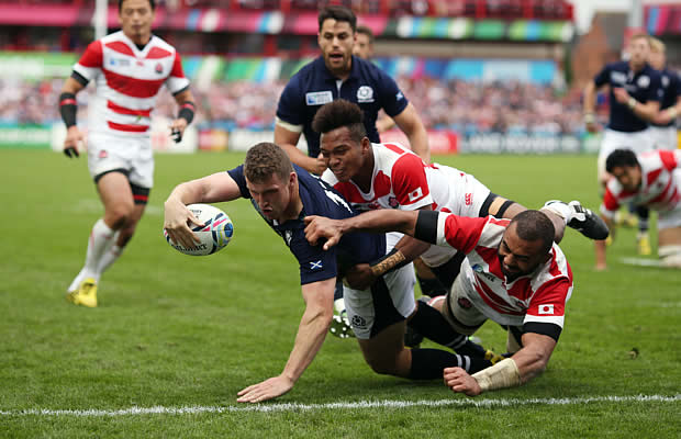 Mark Bennett scored two of Scotland's five tries