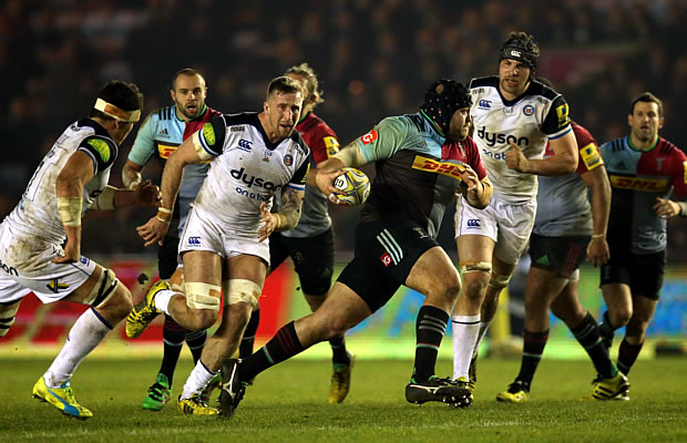 Prop Mark Lambert on the charge for Harlequins