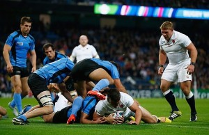 England's Nick Easter scores a try