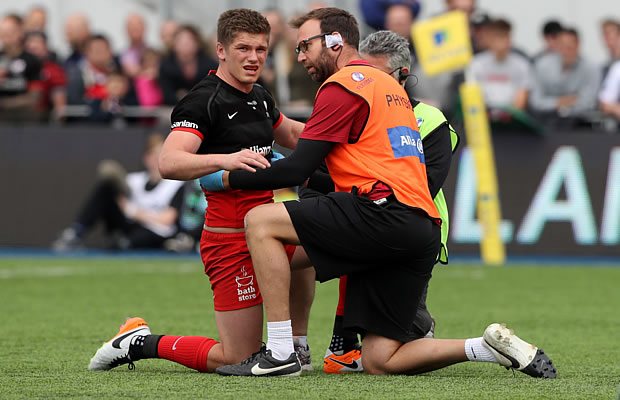 Owen Farrell gets some help from the medics