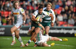 Peter Betham breaks out for Leicester Tigers