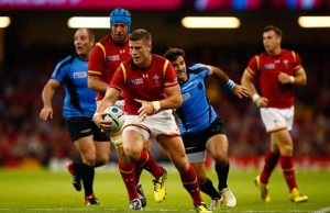 Scott Williams on the attack for Wales