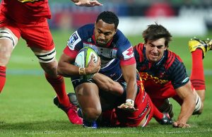 Sefa Naivalu is tackkled by the Stormers