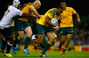 Sekope Kepu makes a break towards the tryline for Australia