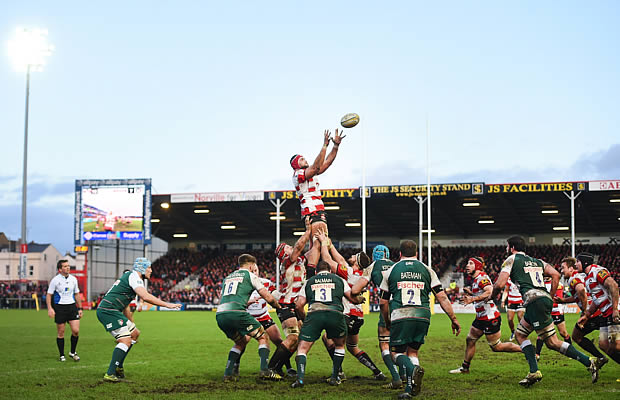 Sione Kalamafoni catches line out ball for Gloucester