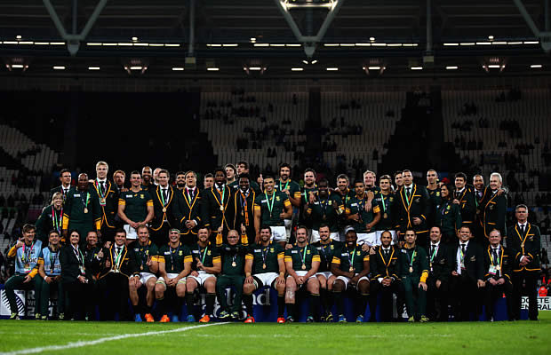 South Africa pose with their medals for third place