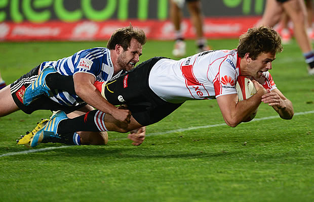 Stokkies Hanekom scores for the Lions