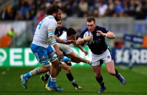 Stuart Hogg on the attack for Scotland