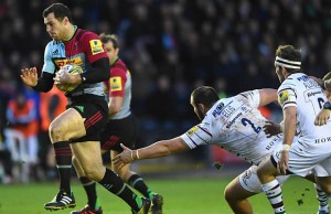 Tim Visser of Harlequins runs to score the opening try