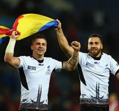 Valentin Calafeteanu celebrates a Romanian victory
