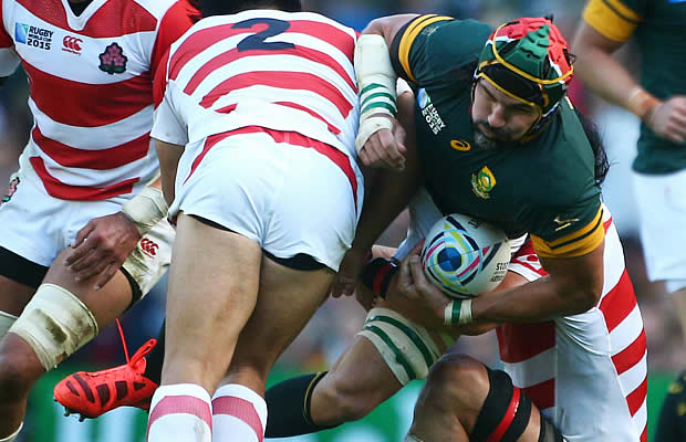 Japan hooker Shota Horie tackles Springbok lock Victor Matfield