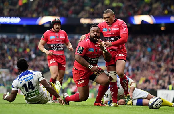 Mathieu Bastareaud celebrates in the European Rugby cup final