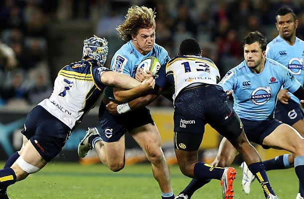 Michael Hooper hits the Brumbies defence