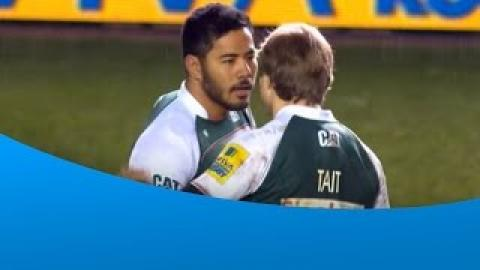 Manu Tuilagi returns for Leicester and produces a fantastic tackle | Rugby Video Highlights 2016