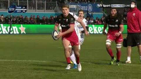 Owen Farrell sets up Duncan Taylor for Saracens | Rugby Video Highlights