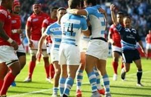 Argentina celebrate scoring against Tonga