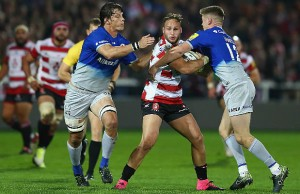 Bill Meakes is tackled by Owen Farrell