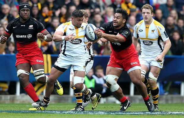 Charles Piutau defends the ball for Wasps