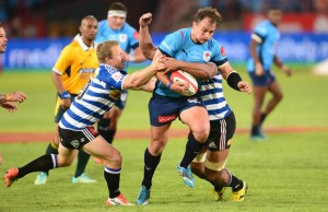 Deon Stegmann gets stopped by Western Province