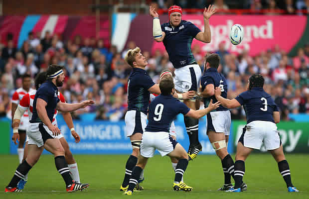 Grant Gilchrist wins the ball for Scotland against Japan