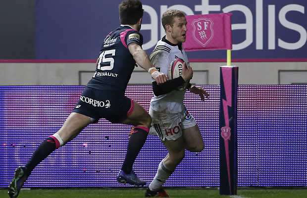 Brive's French wing Guillaume Namy scores a try