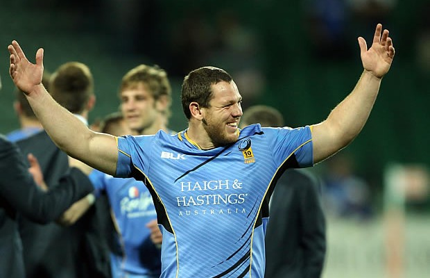 Guy Millar of the Force celebrates after a win over the Waratahs