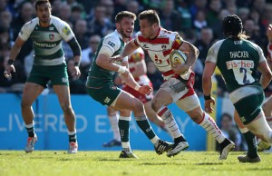 Henry Trinder on the run for Gloucester against Leicester